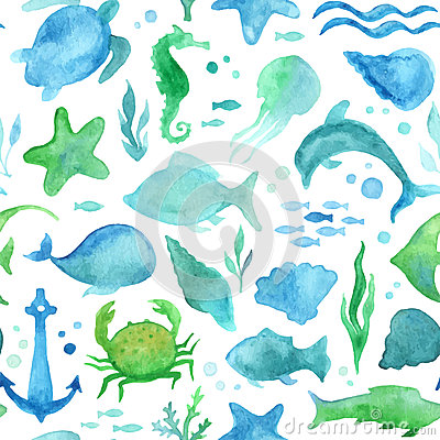 Free Seamless Watercolor Sea Life Pattern. Royalty Free Stock Image - 57742286