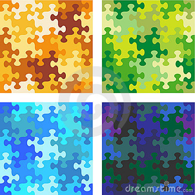 Seamless whimsical jigsaw puzzle patterns