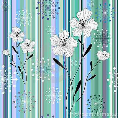 Seamless white-blue floral striped pattern