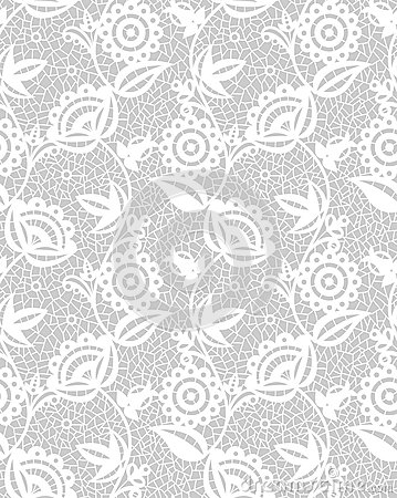Free Seamless White Floral Lace Pattern Royalty Free Stock Photos - 34302418