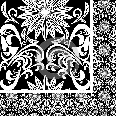 Seamless white Pattern on black background