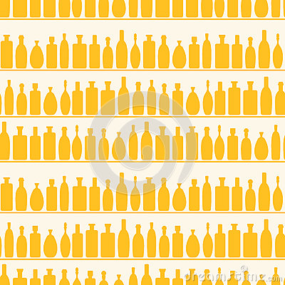 Seamless Wine Bottles Shelf Pattern
