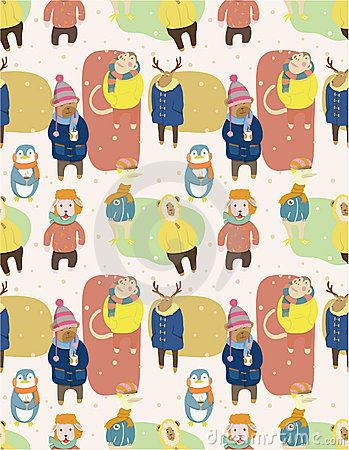 Seamless winter animal pattern