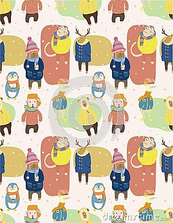 Seamless winter animal pattern