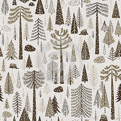Seamless winter pattern of coniferous forest Vector Illustration