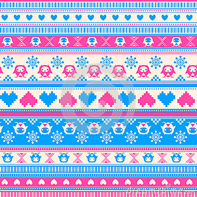 Free Seamless Winter Pattern With Hearts And Owls. Royalty Free Stock Photo - 37432295