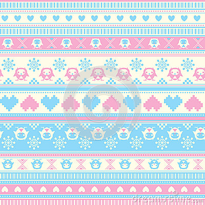 Free Seamless Winter Sweater Pattern With Hearts And Owls. Blue-Pink Royalty Free Stock Image - 37431836