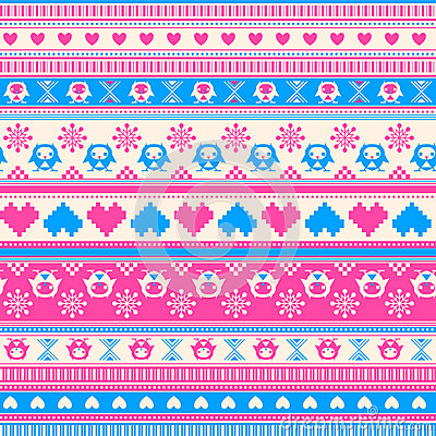 Free Seamless Winter Sweater Pattern With Hearts And Owls. Pink-Blue Stock Images - 37432014