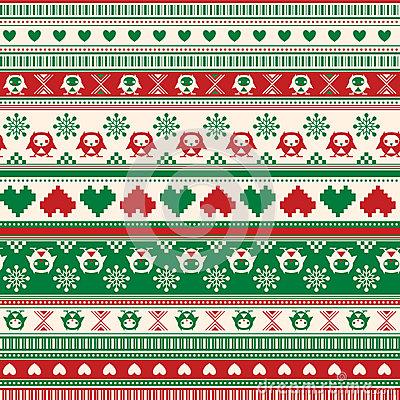 Free Seamless Winter Sweater Pattern With Hearts And Owls. Red-Green Stock Photography - 37431972