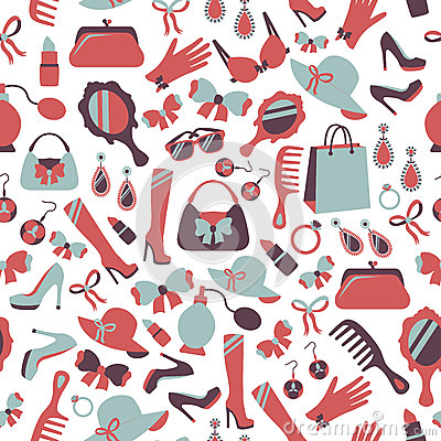 Free Seamless Woman Accessories Background Stock Images - 37434554