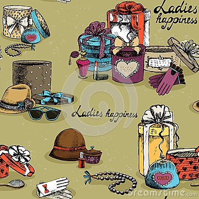 Free Seamless Woman Accessory With Gift Boxes Stock Images - 36935984