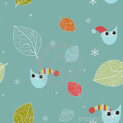 Seamless xmas pattern with owls