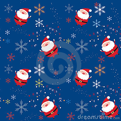Seamless xmas pattern with santa and snowflakes
