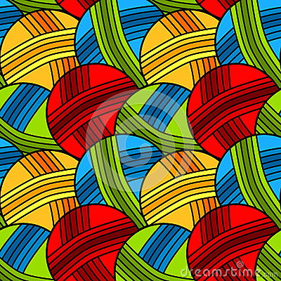 Seamless yarn balls background pattern