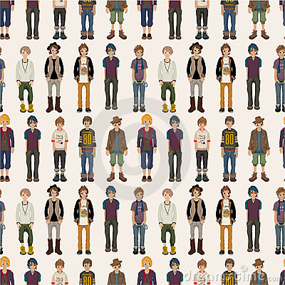 Seamless young man pattern