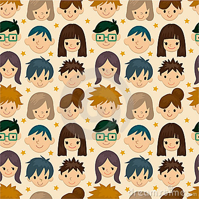 Free Seamless Young People Face Pattern Stock Photo - 19251890