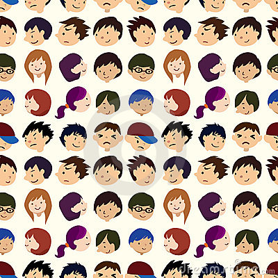 Free Seamless Young People Face Pattern Stock Photography - 21883632