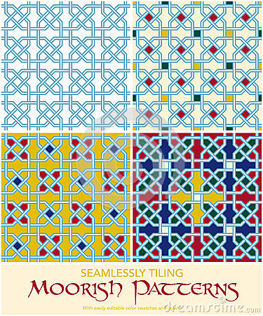 Seamlessly Tiling Moorish Patterns Set