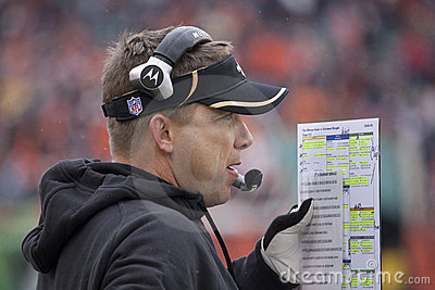 Sean Payton Calls in the play Editorial Photography