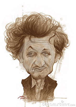 Sean Penn Caricature Sketch Editorial Photo