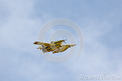 Seaplane flying over the skies of Barcelona Editorial Stock Photo