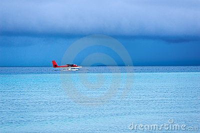 Seaplane landing on the sea