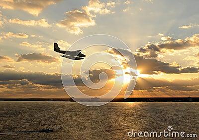 Seaplane over island