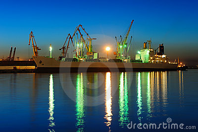 Seaport at the night