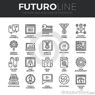 Free Search Engine Optimization Futuro Line Icons Set Stock Photos - 62806763
