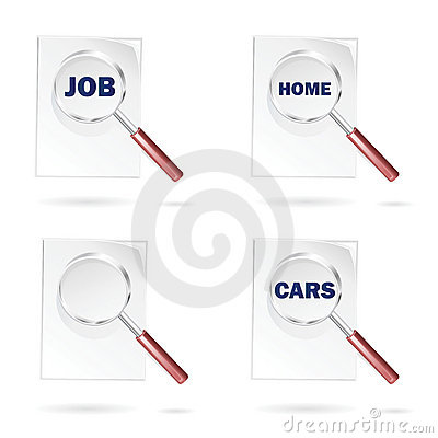 Search icons for job cars and home