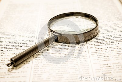 Search for information. Classic method Stock Photo