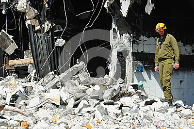 Search and Rescue Through Building Rubble after a Disaster Editorial Image