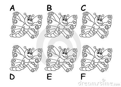 Search the twins between six cartoon butterflies