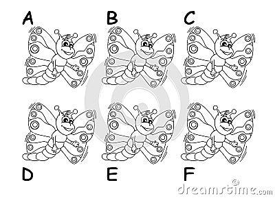 Search the twins between six cartoon butterflies