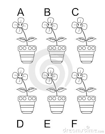 Search the twins between six cartoon flowers