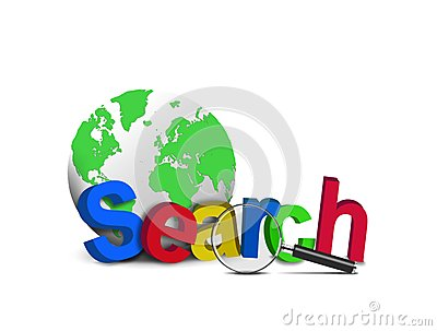 Search word with globe