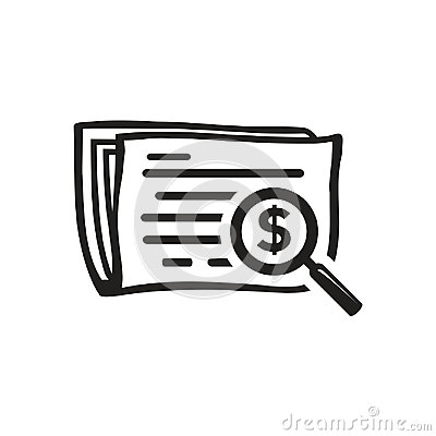 Searching in newspaper icon Vector Illustration