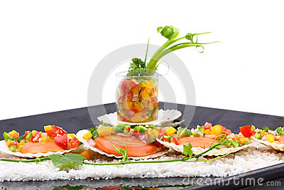 Seared Scallops With Tropical Salsa Royalty Free Stock Images - Image ...