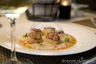 Seared sea Scallops on Risotto