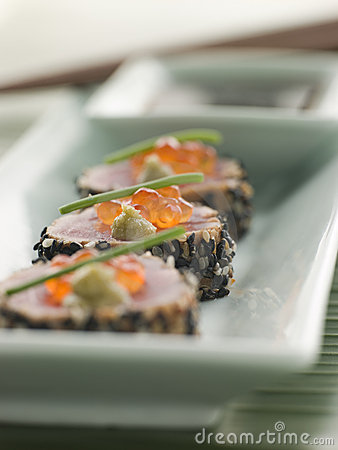Seared Yellow Fin Tuna Rolled in Sesame seeds with