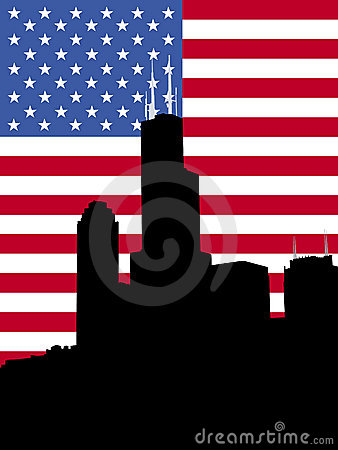 Sears tower with flag
