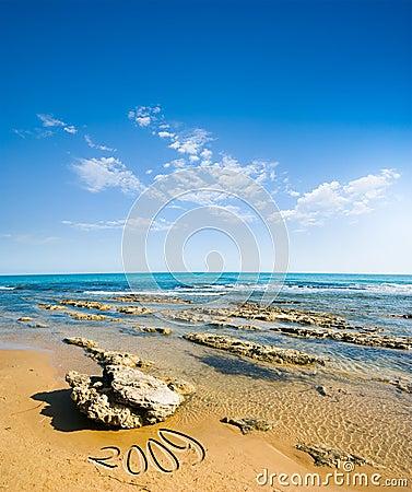 Seascape for beach, sea and cloudy sky