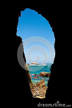 Seascape through cave