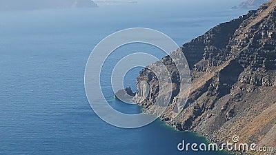 Seascape fantástico do Mar Egeu azul profundo infinito com ilhas de Cycladic, Grécia filme