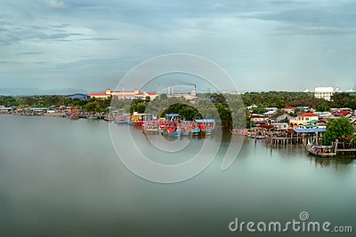 Seascape and Fisherman Village view from Kuala Kedah Bridge