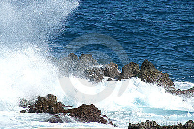 Seascape with hitting rough seas on the rocks