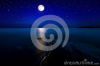 Seascape with moon
