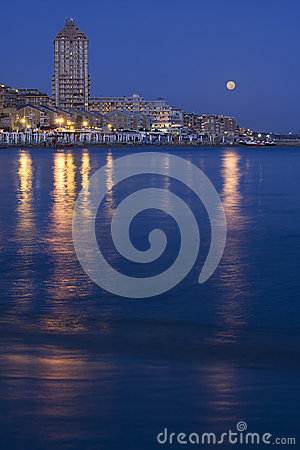 Seascape at night Moon