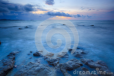 Seascape of pattaya beach at sunset, Chonburi, Thailand