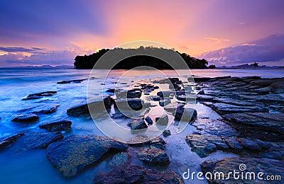 Seascape of pattaya beach at sunset, Chonburi, Thailand